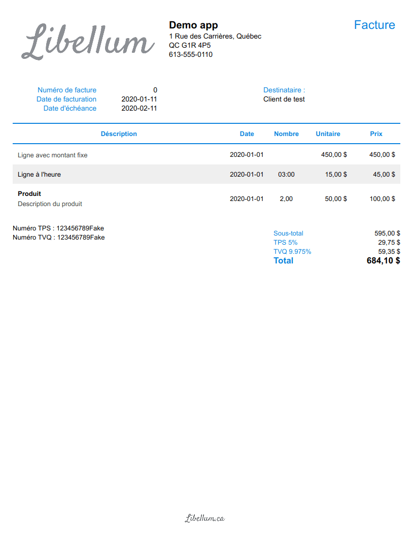 Colored invoice template preview