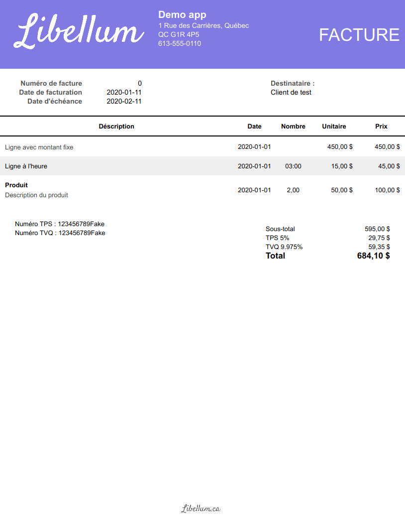 Header invoice template preview
