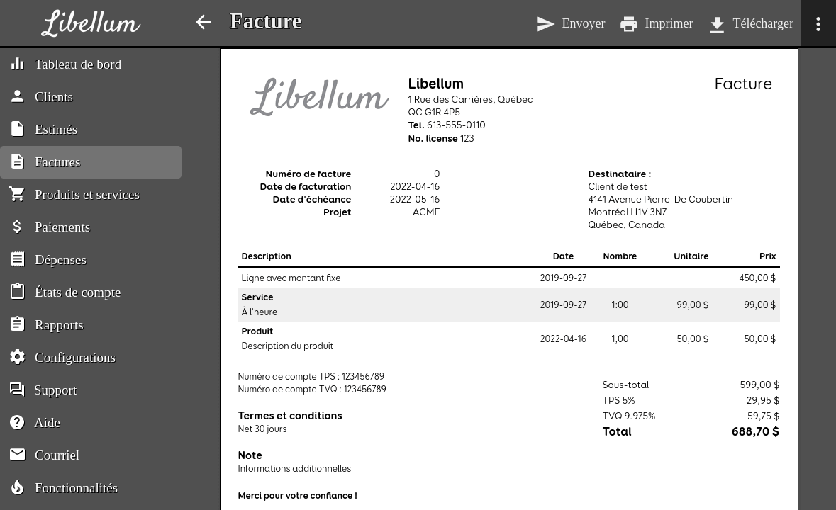 Preview of the invoice controls